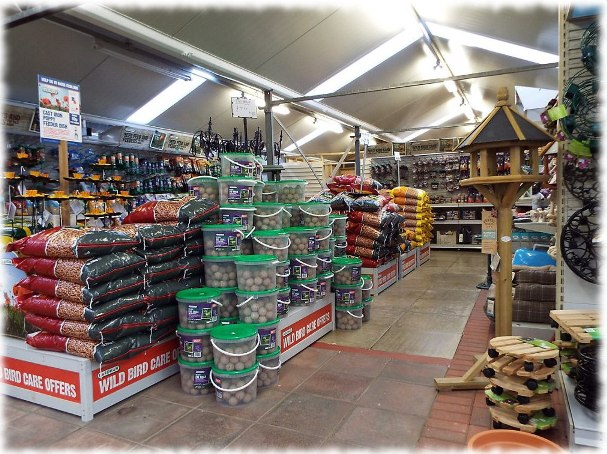 bird feed and feeders section at craft nurseries